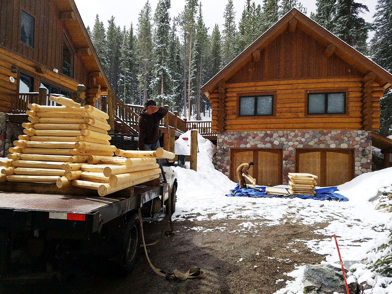 Log railing log home deck repair for Log home decks