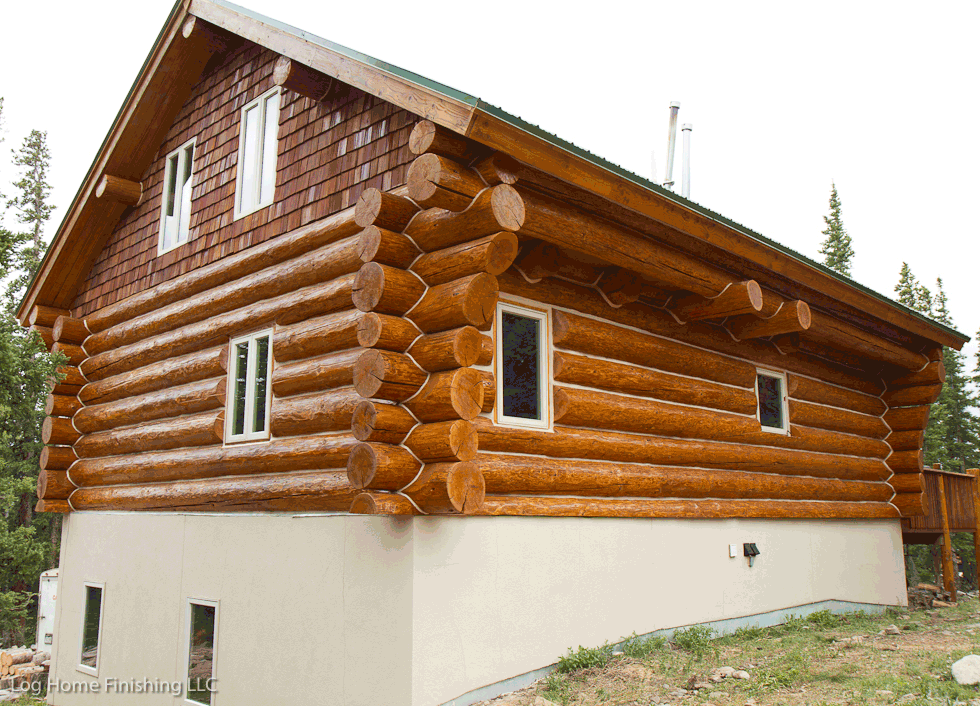 Log home maintenance colorado 970 368 2308 for How to stain log cabin