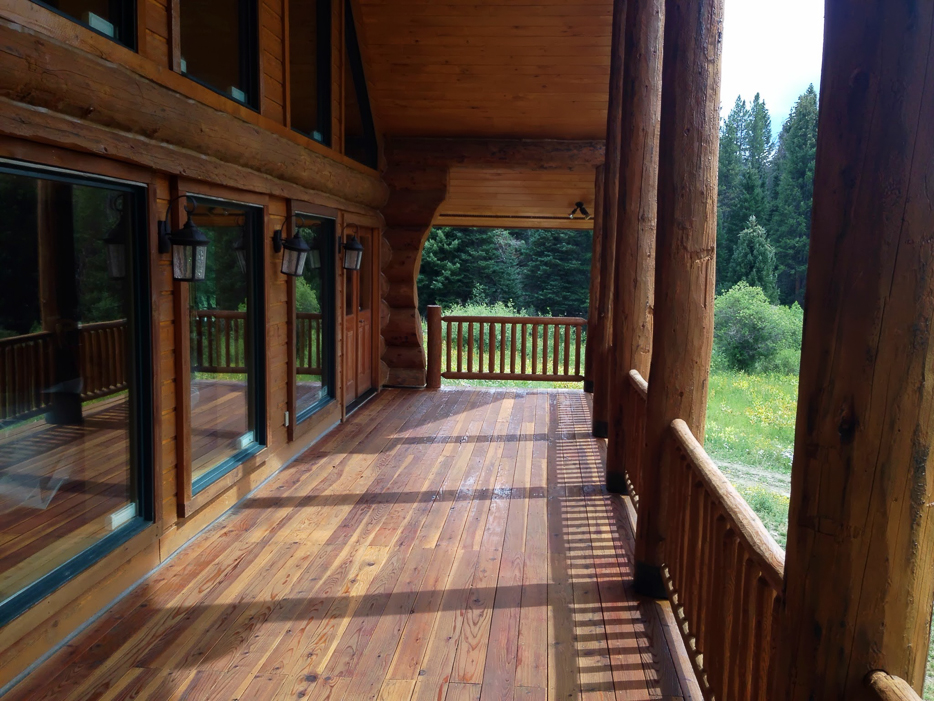 Log home restoration colorado for Log home decks