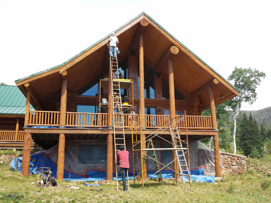 log home contractor refinishing