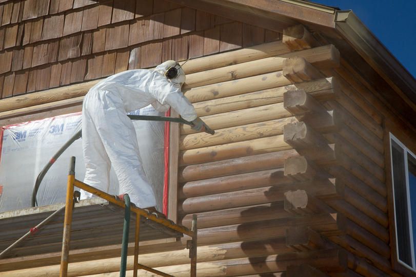 Removing old Super Deck stain with walnut shell blasting  Re